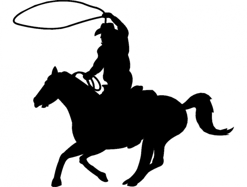 Vsadnik Cowboy Clip 1 dxf File