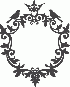 Ornamental Birds Frame DXF File