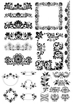 Floral Decor Design Elements Free Vector