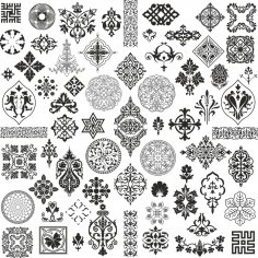 Retro Ornament Set Free Vector