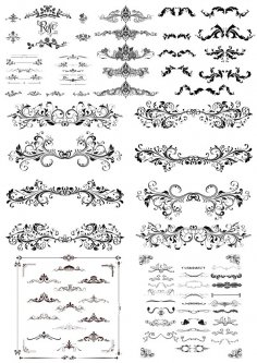 Swirl Floral Borders and Ornaments Free Vector