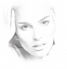Laser Cut Engrave Natalie Portman Pencil Drawing Portrait Free Vector
