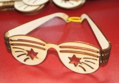Laser Cut Party Sunglasses Plywood 3mm Free Vector