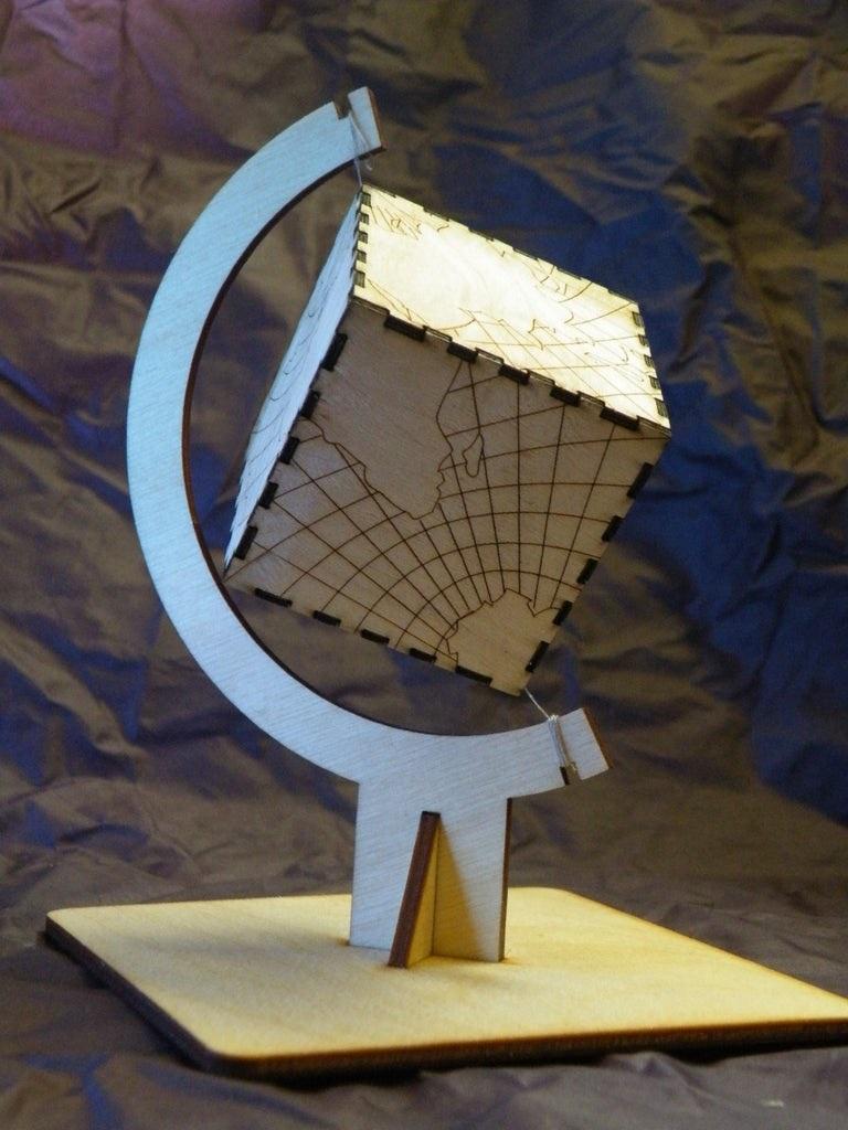 Laser Cut Cube Globe DXF File