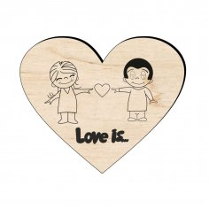 Laser Cut Wooden Love Magnet Free Vector