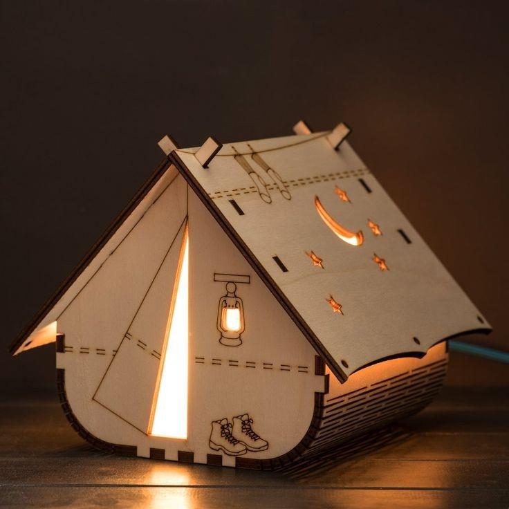 Laser Cut Decorative Tent Shaped Lamp 4mm Free Vector