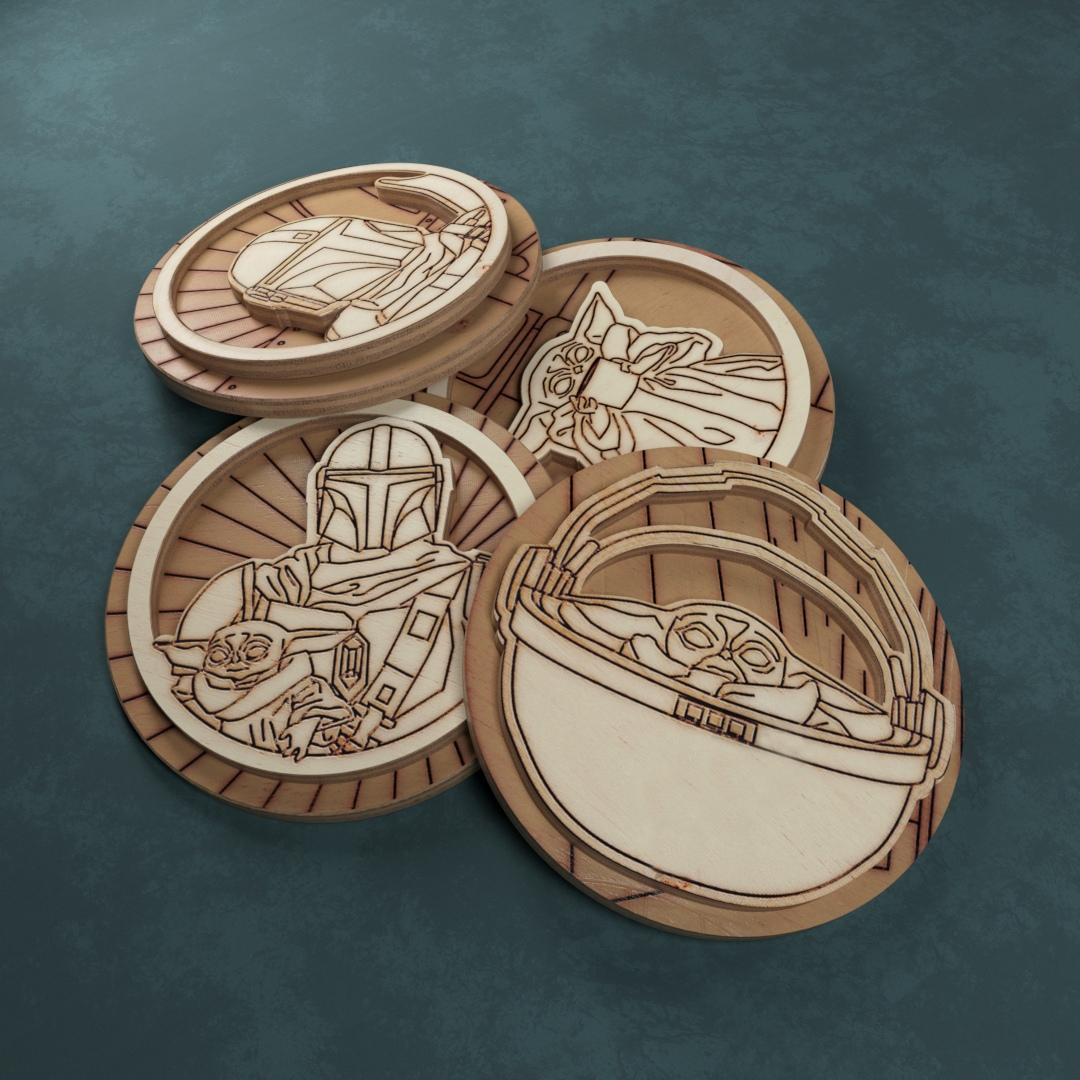 Laser Cut Engraved Wooden Mandalorian Inspired Badges Free Vector