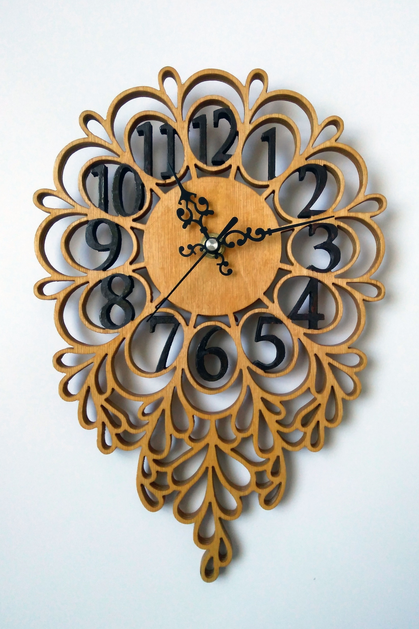Laser Cut Decorative Wooden Wall Clock DXF File