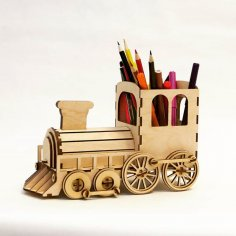 Laser Cut Steam Locomotive Pen Organizer With Piggy Bank Free Vector