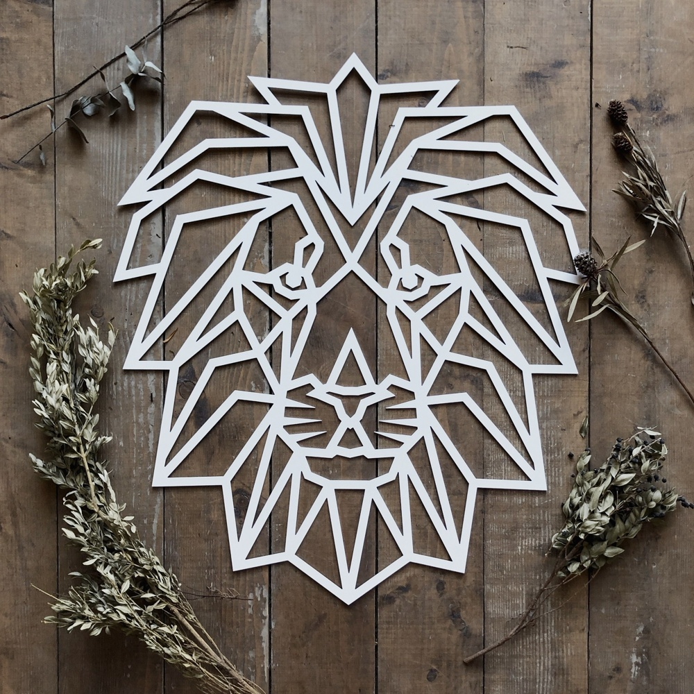 Laser Cut Polygon Lion Wall Art Free Vector