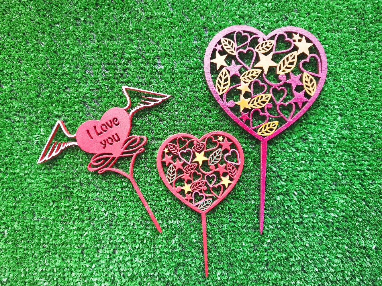 Laser Cut Love You Cake Topper Free Vector