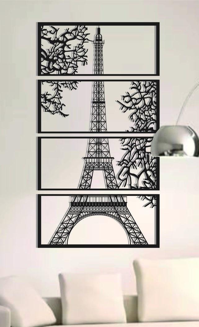 Laser Cut Eiffel Tower View Multi Panel Canvas Wall Art Free Vector