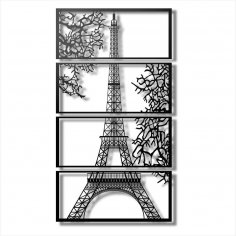 Laser Cut Eiffel Tower View Multi Panel Canvas Wall Art Free Vector