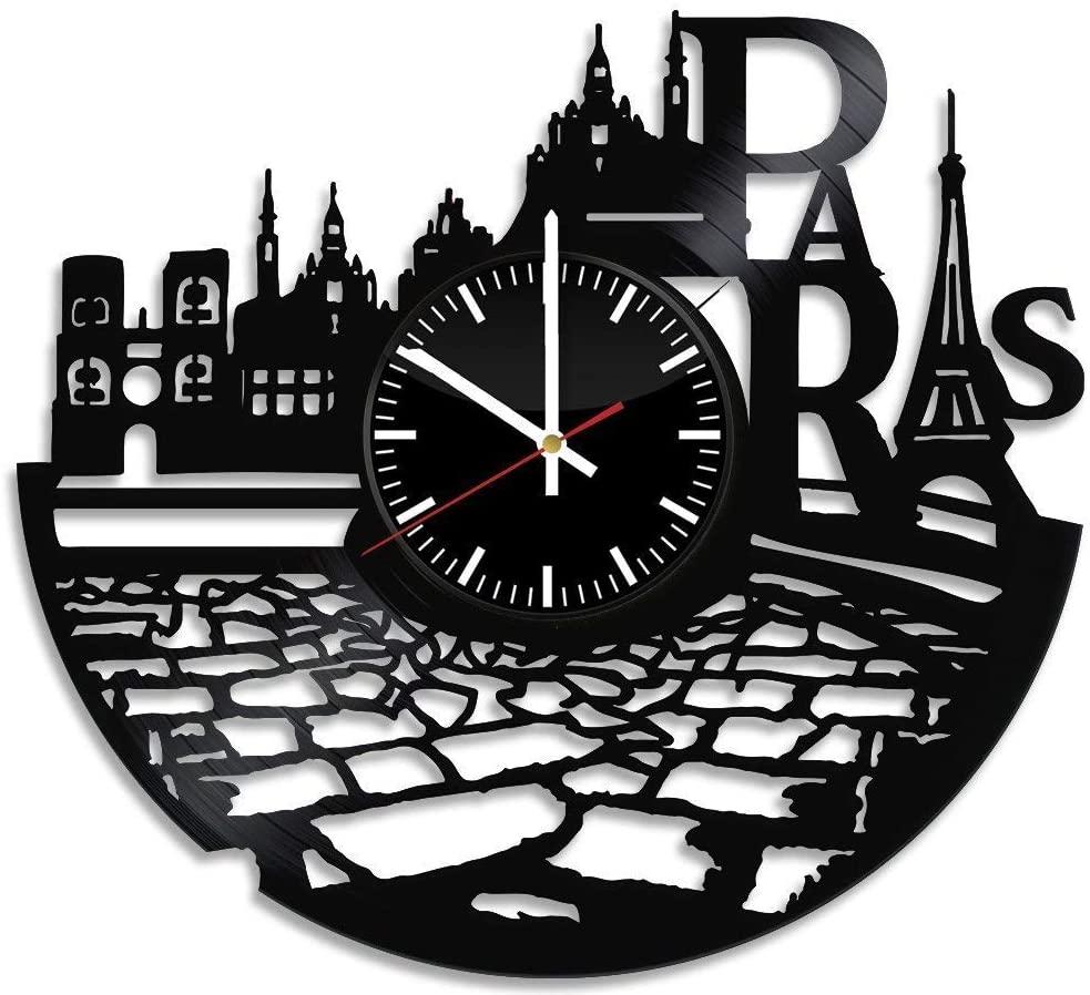 Laser Cut France Paris City Theme Vinyl Wall Clock DXF File