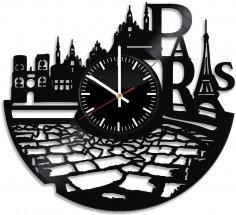 Laser Cut France Paris City Theme Vinyl Wall Clock DXF File