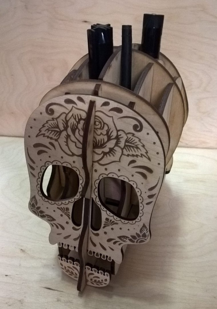 Laser Cut Skull Pen Holder Desk Organizer Template Free Vector