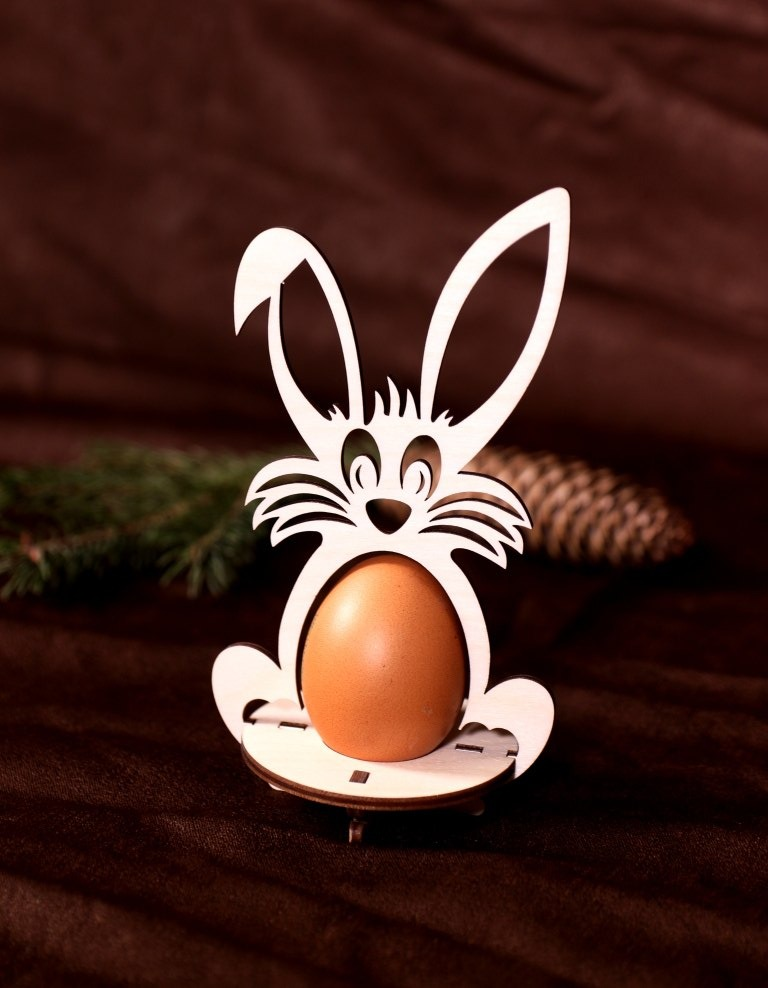 Laser Cut Easter Eggs Rabbit Stand Free Vector