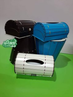 Laser Cut Tissue Box And Waste Paper Basket Dustbin Set DXF File