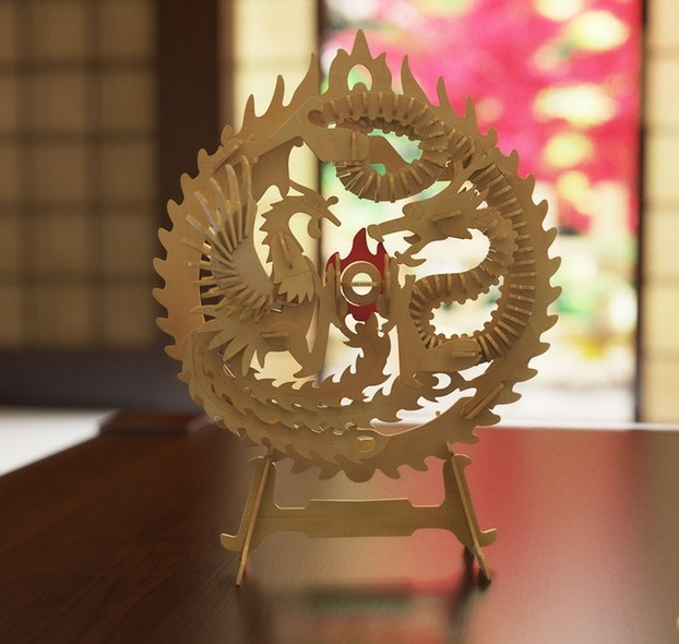 Laser Cut Wooden Dragon Decoration Free Vector