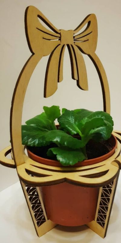 Laser Cut Wooden Flower Pot Holder Stand Free Vector