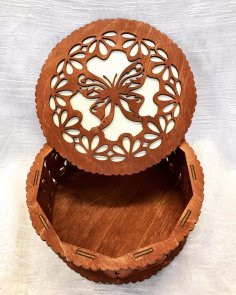 Decorative Butterfly Design Round Box Laser Cutting Template Free Vector