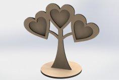 Laser Cut Wooden Photo Frames Heart Shaped On Tree DXF File