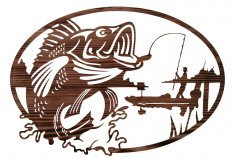 Fisherman Mural Wall Decor Laser Cutting Template Free Vector