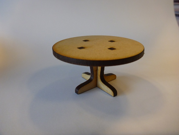 Lasercut Round Table for a Doll House DXF File