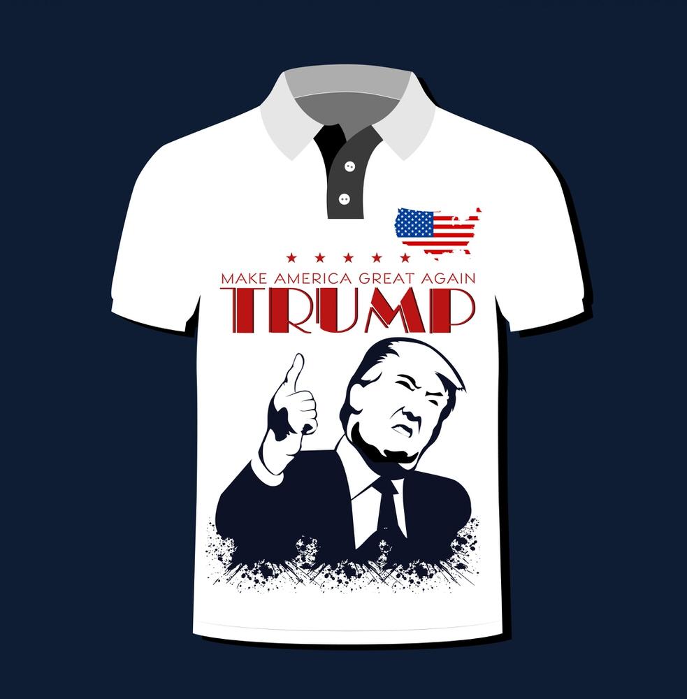 America Tshirt Template Slogan President Flag Free Vector