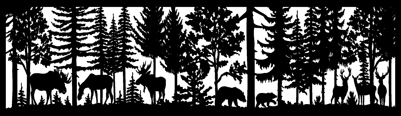 28 X 96 Three Moose Two Bear Two Deer Plasma Art DXF File