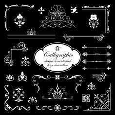 Calligraphic Design Elements And Page Decoration Free Vector