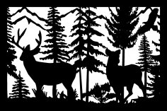 24 X 36 Buck Doe Eagle mountains Plasma Art DXF File