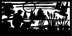 30 X 60 Hunter Dog Cattails Ducks Plasma Metal Art DXF File
