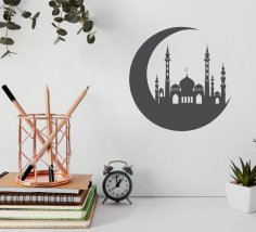 Laser Cut Crescent Moon With Mosque Free Vector