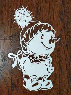 Laser Cut Snowman Christmas Window Decoration DXF File