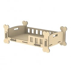 Laser Cut Cute Dog Bed Puppy Crib Pet Furniture Free Vector
