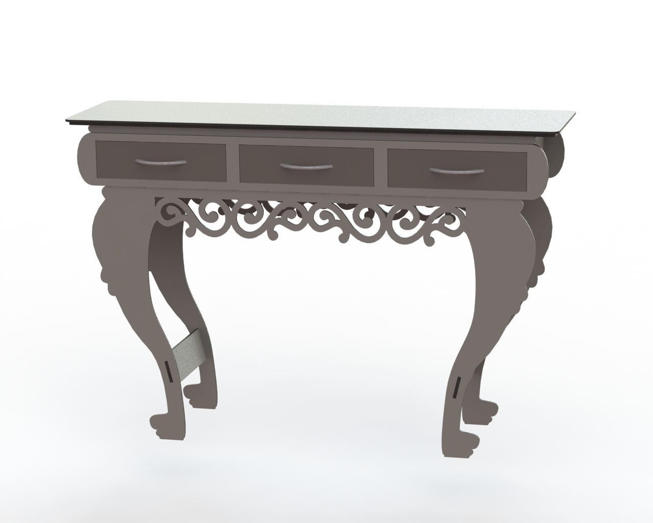 Laser Cut Table with Drawers Free Vector