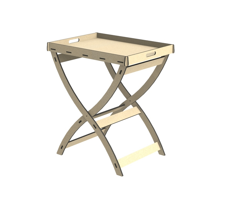 Round Cross Legged Tray Top Side Table DXF File
