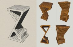 Bar Stool Laser Cut CNC Router Plans Free Vector