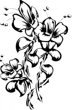 Flowers Tattoo Vector Art Free Vector