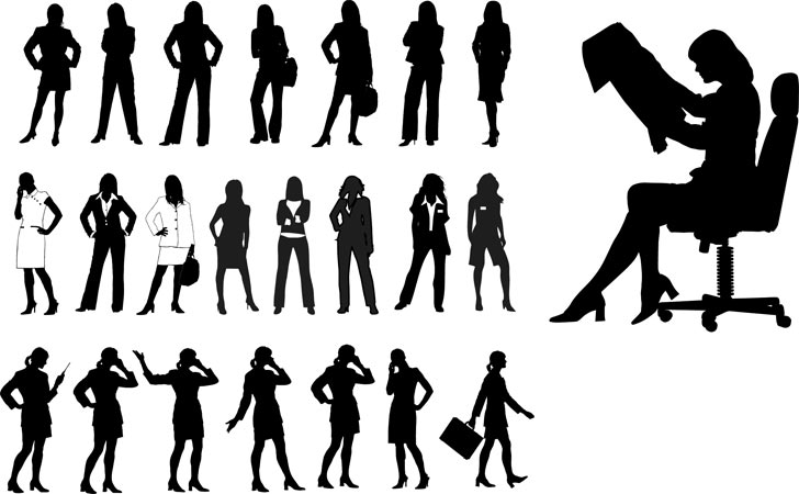 Silhouettes of Business Women Free Vector