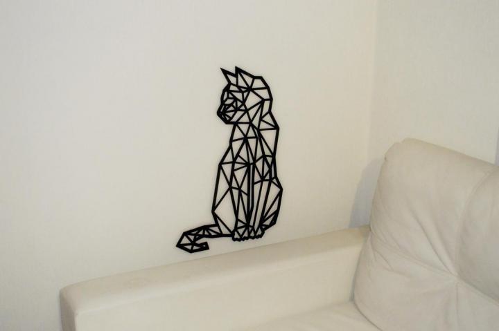 Laser Cut Cat Polygon Art Wall Decor 3D Sculpture Art DXF File