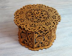 Laser Cut Wooden Decorative Octagon Gift Box Jewelry Storage Box Free Vector