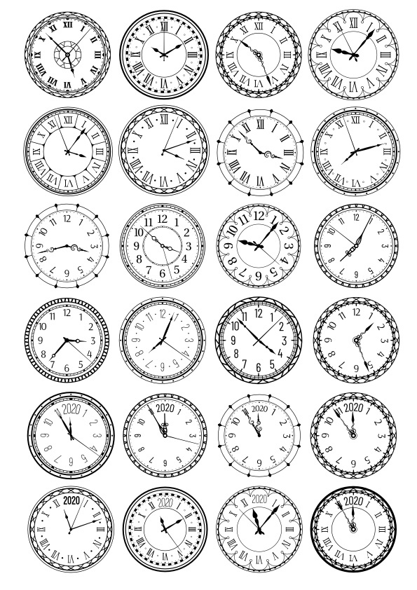 Clocks Vector Set Free Vector