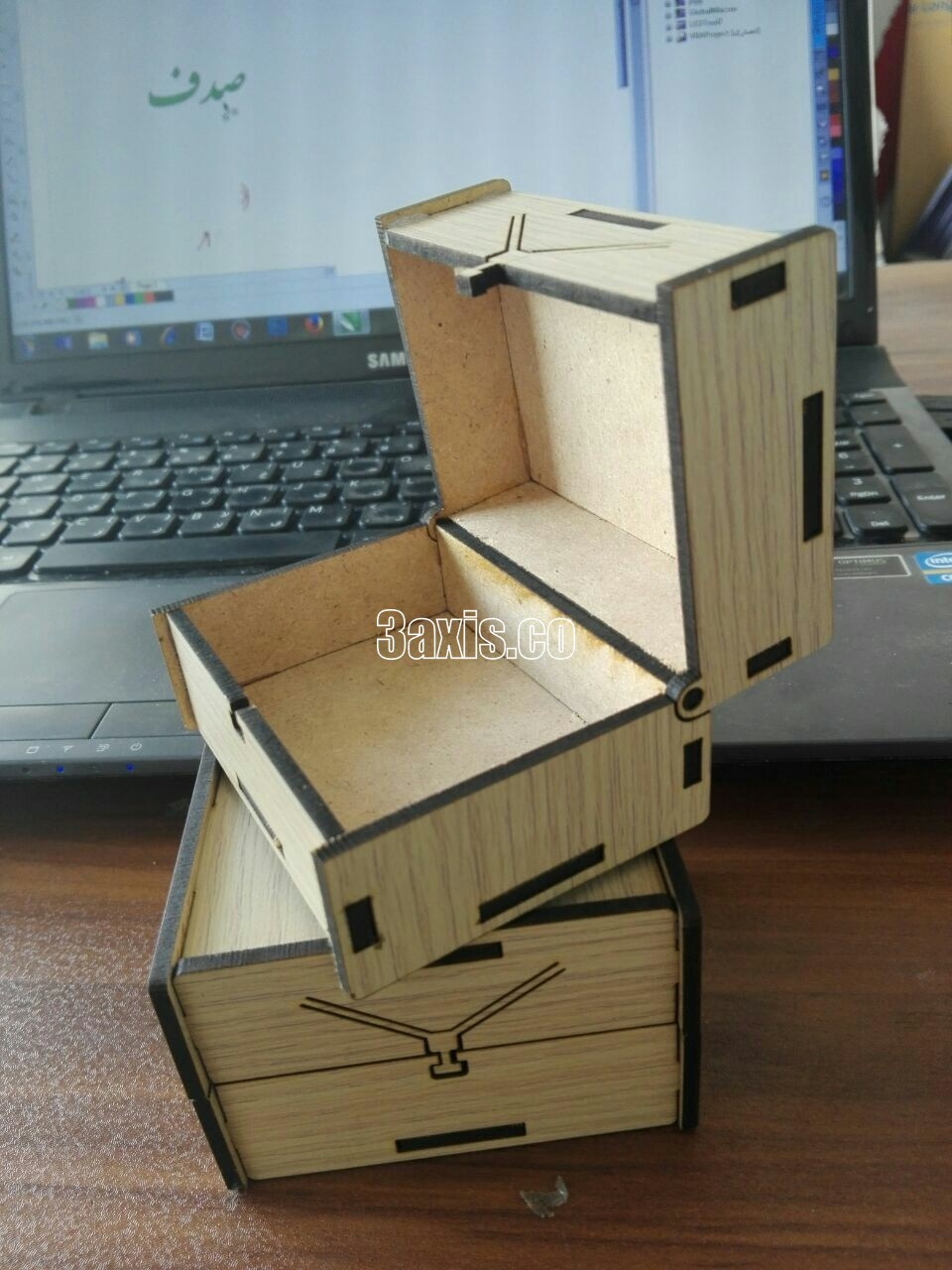 Laser Cut Box with Lid for Clock Free Vector