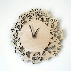 Laser Cut Kid Room Wall Clock Template Free Vector