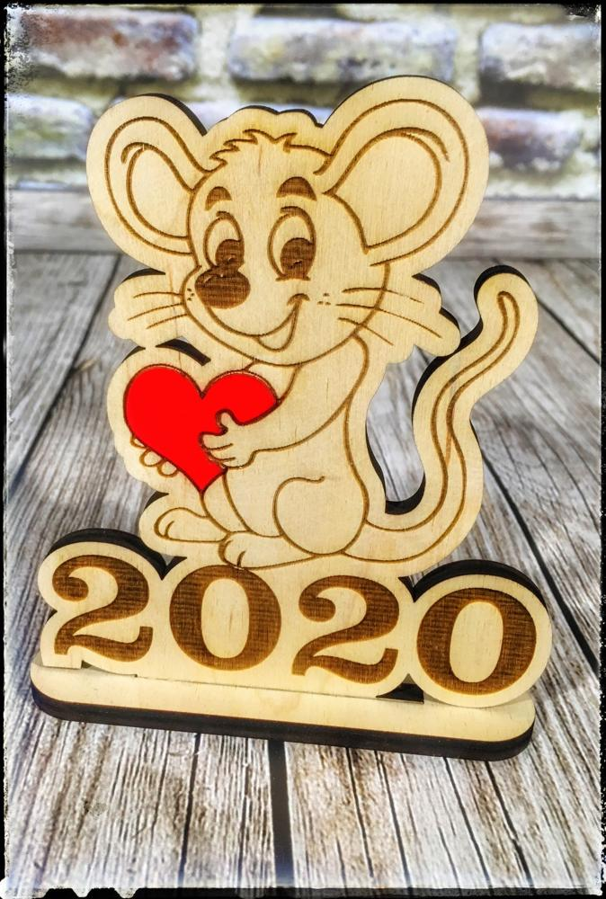 Laser Cut Happy New Year 2020 Mouse with Heart DXF File