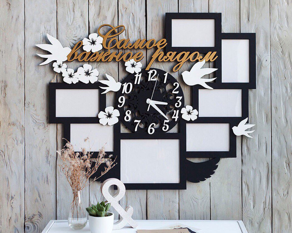 Laser Cut Picture Frames with Clock Template Free Vector