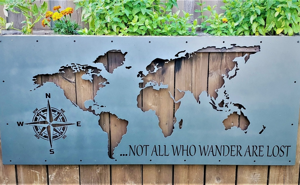 Laser Cut World Map Not All Who Wander Are Lost DXF File