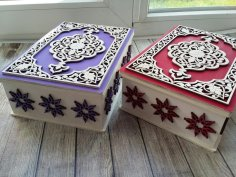 Laser Cut Decorative Gift Box Plywood 3mm Free Vector
